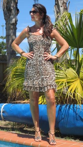 Leopard print dress, heels