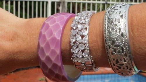 Mauve, diamante and silver bangles