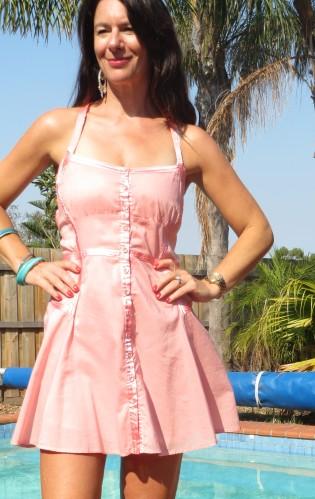 Pastel peach dress close 6
