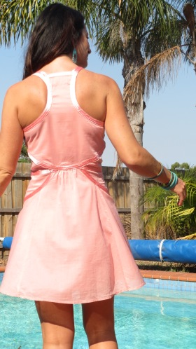Pastel peach dress close back 5