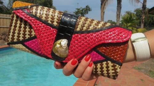 Raffia colorful clutch