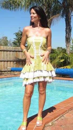 Ruffle white & green dress 1