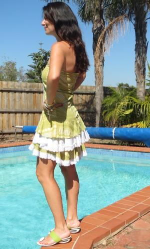 Ruffle white & green dress 2