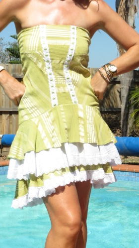 Ruffle white & green dress 5