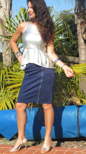 Silver peplum top, blue zip skirt 1