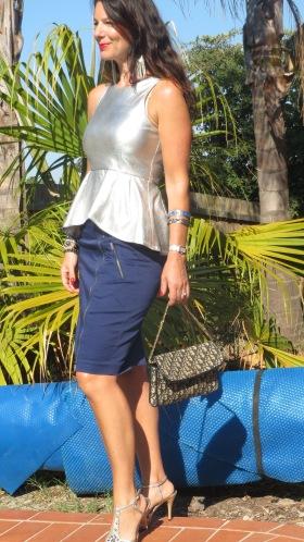 Silver peplum top, blue zip skirt 2