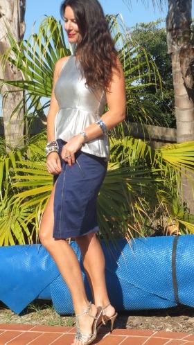 Silver peplum top, blue zip skirt 3