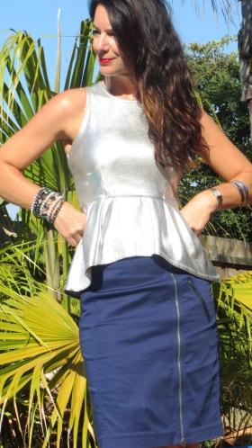 Silver peplum top, blue zip skirt 4