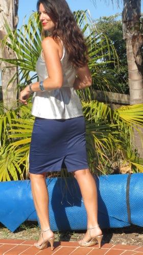 Silver peplum top, blue zip skirt 5