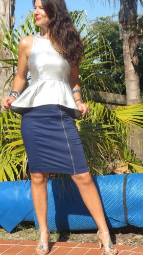 Silver peplum top, blue zip skirt 6