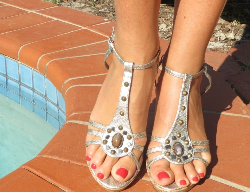 Silver & stone heels