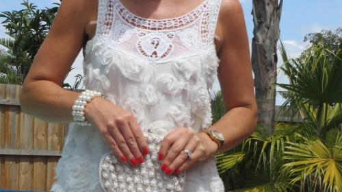 White frou-frou dress, close 4