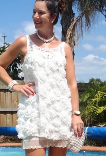 White frou-frou dress close 5