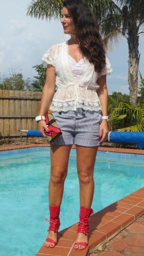 White lace, blue striped shorts 1