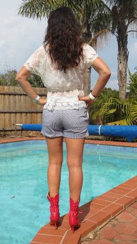 White lace, blue striped shorts back 4