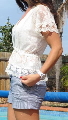 White lace, blue striped shorts close 2