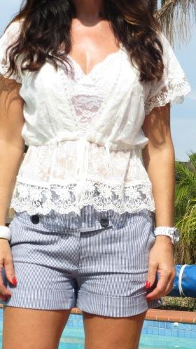 White lace, blue striped shorts close 3