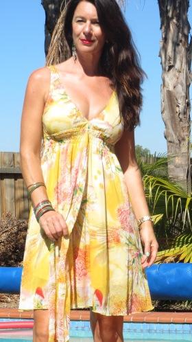 Yellow Valleygirl dress, close 2