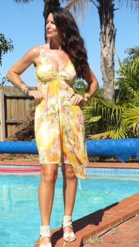 Yellow Valleygirl dress, heels 1