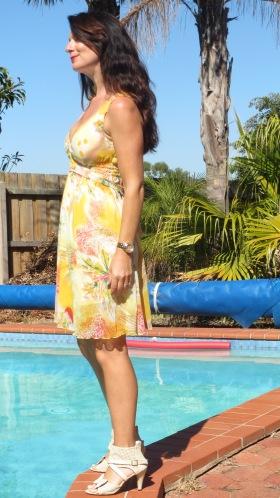 Yellow Valleygirl dress, heels 3