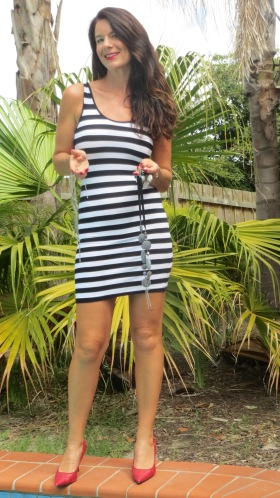 Black & white stripe mini dress 1