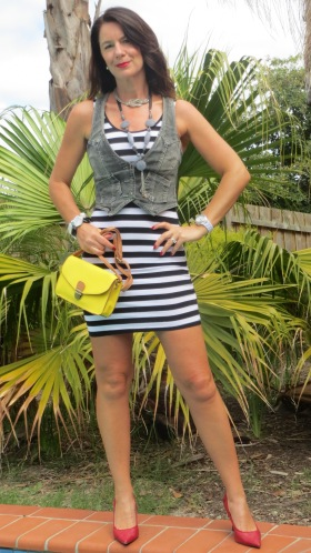 Black & white stripe mini dress 2