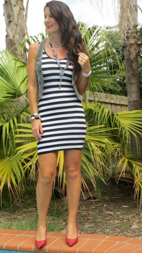 Black & white stripe mini dress 4