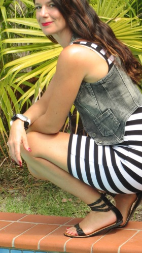Black & white stripe mini dress 7