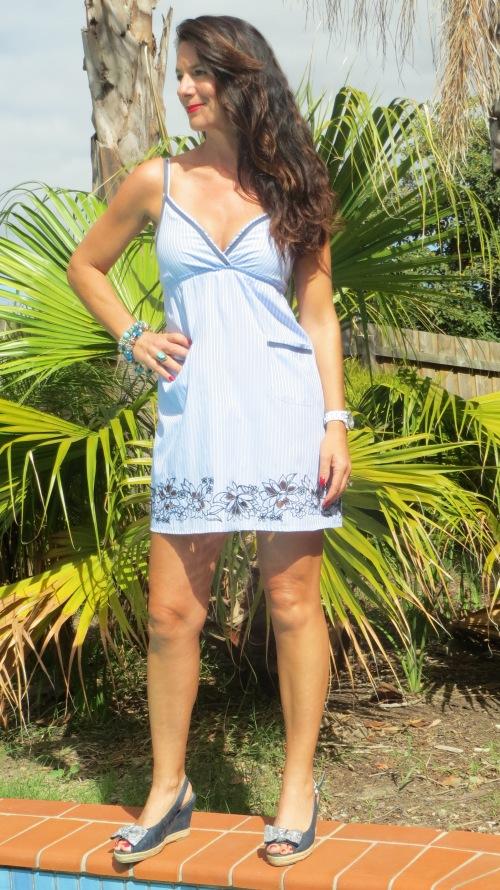 Blue pinstripe shirt dress 1