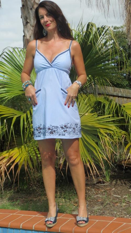 Blue pinstripe shirt dress 2