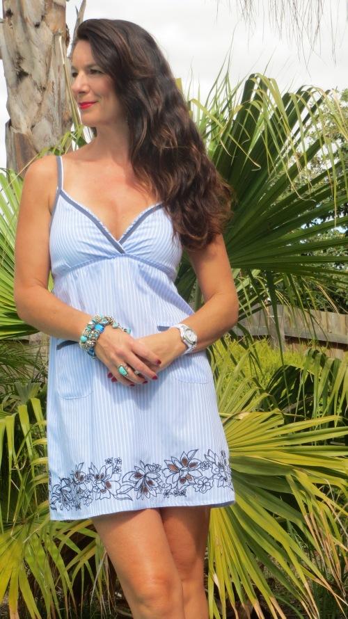 Blue pinstripe shirt dress 3