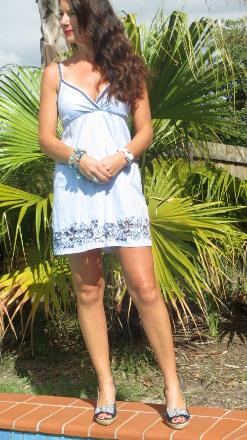 Blue pinstripe shirt dress 5