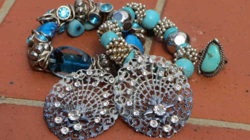 Blue & silver chunky bracelets, ring & earrings