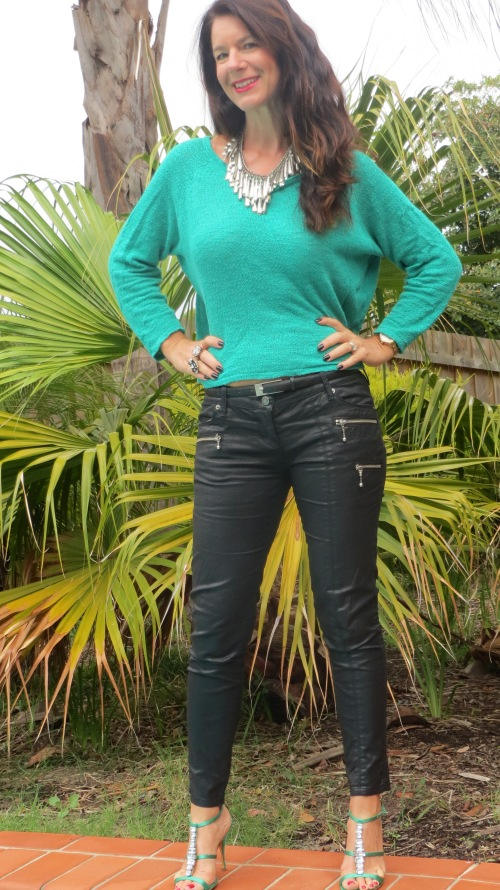 Emerald green jumper, leather jeans 1