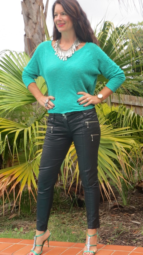Emerald green jumper, leather jeans 2