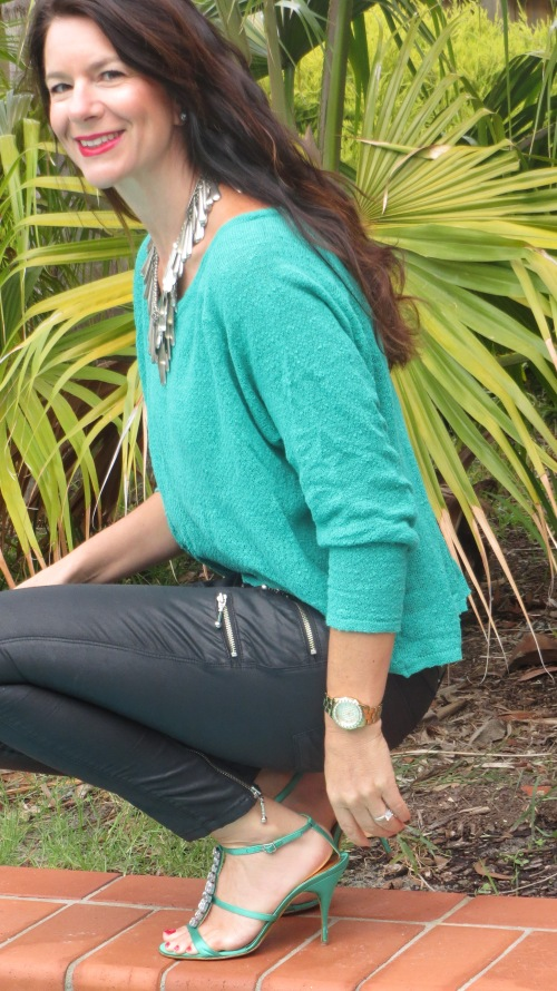 Emerald green jumper, leather jeans 3