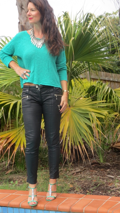 Emerald green jumper, leather jeans 5