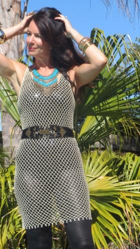 Gold mesh dress 4