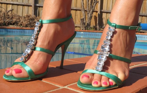 Green strappy, diamante heels