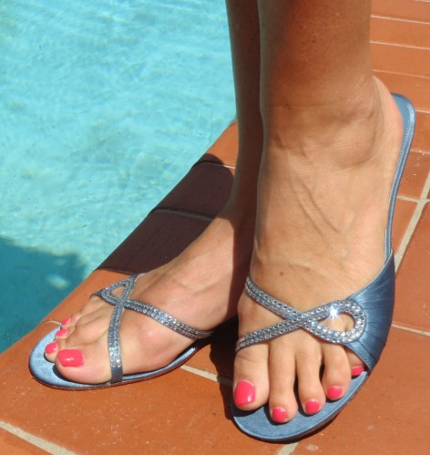 Midas blue diamante sandals