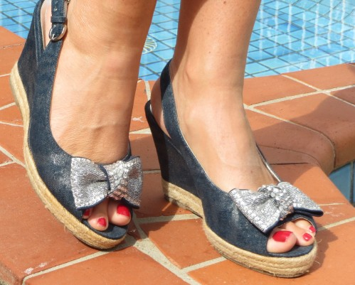 Silver bow, blue denim wedges