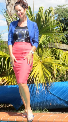 Watermelon pencil skirt, blue bolero 1