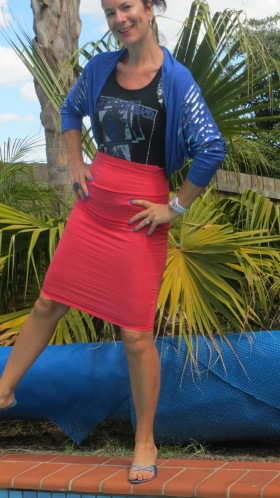 Watermelon pencil skirt, blue bolero 2