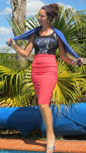 Watermelon pencil skirt, blue bolero 4