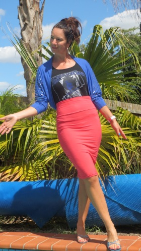 Watermelon pencil skirt, blue bolero 5