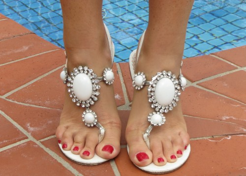 White Forever New diamante sandals
