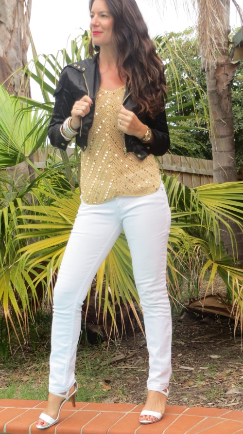 White jeans, gold sequin top 1