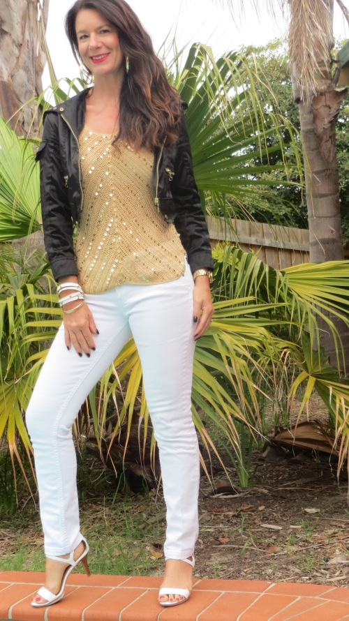 White jeans, gold sequin top 3