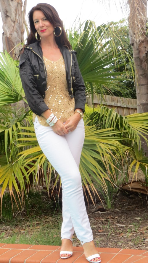 White jeans, gold sequin top 5