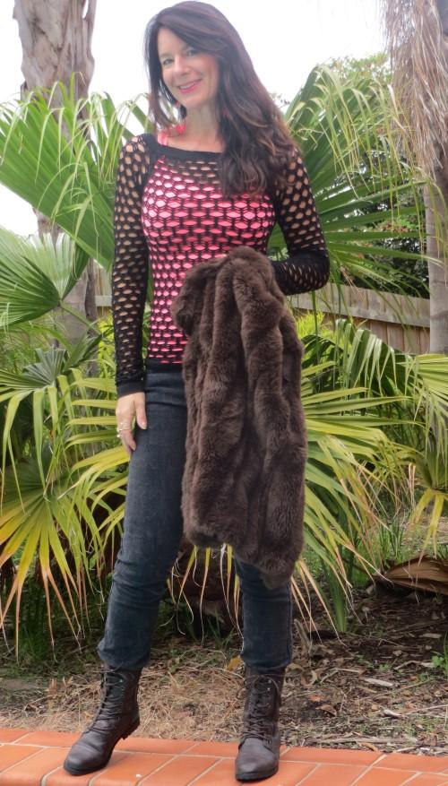 Brown fur vest, snakeskin jeans 2